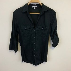 James Perse Black Sheer Cotton Side Panel Shirt L